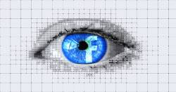 digital rendering of an eye with the facebook logo in the iris
