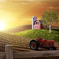 red barn and tractor on a farm field at sunrise
