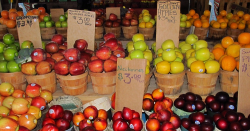 Fruit and vegetables displayed at a farmers market