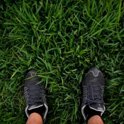 feet in sneakers standing on lush green grass