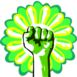 green hand in a fist in front of a flower