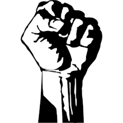 silhouette of a hand raised in a fist