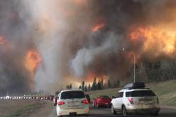 Landscape view of wildfire near Highway 63 in south Fort McMurray