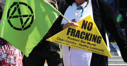 """A sign that reads: """"No Fracking"""""""