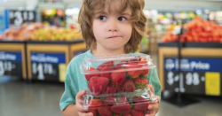 Child with strawberries in plastic packaging.