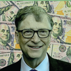 Bill Gates surrounded by money