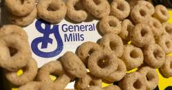General Mills logo surrounded by Cheerios cereal