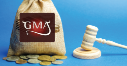 Grocery Manufacturers Association with a gavel and bag of money.