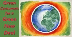watercolor painting of the planet earth with words GREEN CONSUMERS FOR A GREEN NEW DEAL