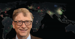 Bill Gates in front of a map of the world.