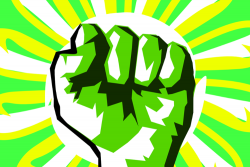 cartoon fist in the air surrounded by green  and yellow colors