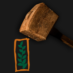 wooden hammer mallet about to strike the Monsanto logo