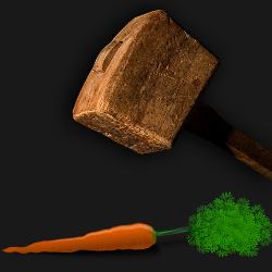 Dark wooden hammer about to smash a carrot