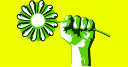 hand holding a green flower in a fist