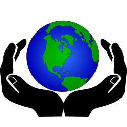 Hands holding up the planet Earth