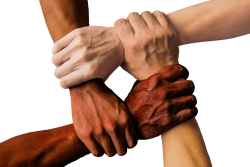 Hands held in a circle together