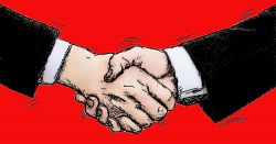 Two businessmen in black suits shaking hands