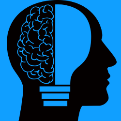 silhouette of a human head with half a light bulb and half brain inside