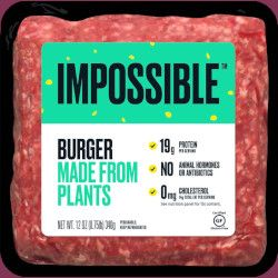 packaging for Impossible Burger fake meat product