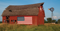 Barn and American flag.