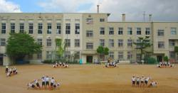 Japanese children participating in group activities during gym class