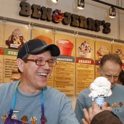 Ben and Jerrys CEO Joestein Solheim scooping ice cream
