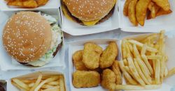 fast food items on paper trays