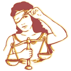 lady justice with a set of scales peeking out from under her blindfold