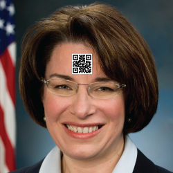 Sen. Klobuchar with a QR code on her forehead