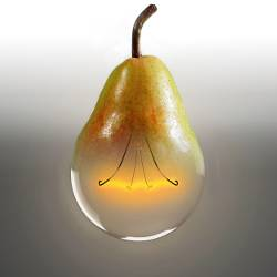 half light bulb and half pear