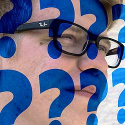 Man with blue question marks