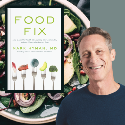 Author Mark Hyman with the cover of the book Food Fix