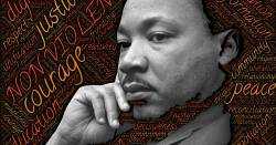 image of Dr Martin Luther King Jr surrounded by a cloud of words