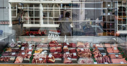 Meat at a butcher.