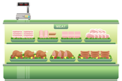 Meat counter at a supermarket
