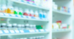 picture of a blurry pharmacy