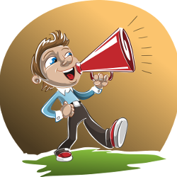 Cartoon of a boy with a megaphone