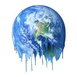image of the earth melting and dripping due to climate change