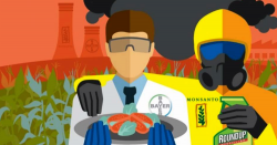 Monsanto-Bayer cartoon with gas masks