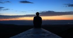 Silhouette of person at dawn