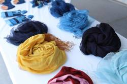 Naturally dyeing scarves
