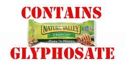 """picure of natural valley granola bar with the words, """"contains glyphosate"""""""