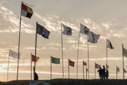 First Nation Tribal flags flying in solidarity at Standing Rock