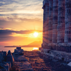 Ancient monument with a sunset in the background