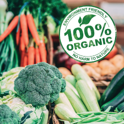 colorful organic vegetables with a 100 percent organic seal