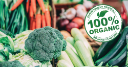 organic colorful vegetables and produce with a 100 percent organic seal