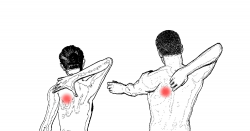 man and woman with back pain