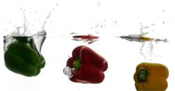 red green and yellow bell peppers splashing in a tank of water
