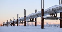 pipeline crossing snowy landscape