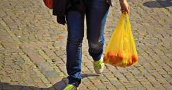 person carrying a yellow plastic grocery bag with produce inside